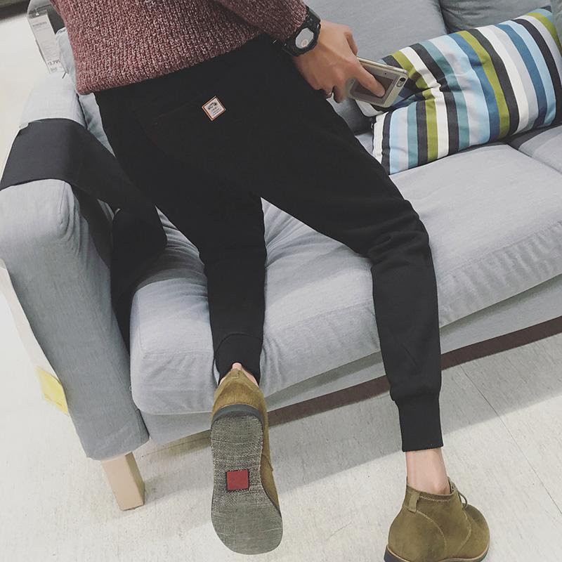 秋季休闲裤男长裤韩版修身运动裤男九分裤潮流小脚哈伦裤束脚裤男