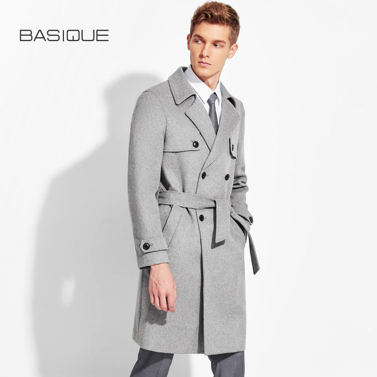 元本 2019春装新款男士商务休闲羊毛呢大衣外套风衣 浅灰