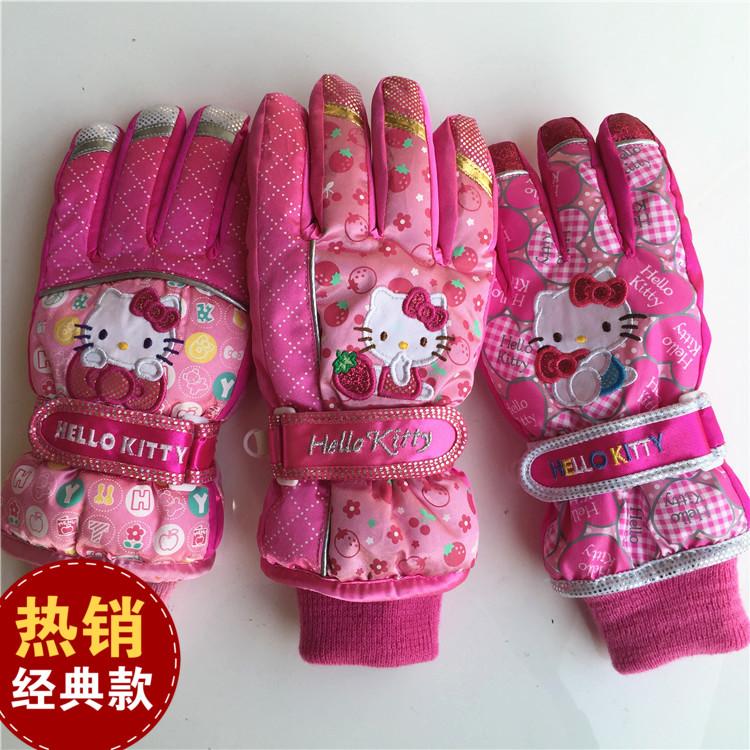 Корея 15 официальные зимние перчатки для детей Привет Китти девочек плюс плюшевые теплые зимние лыжные перчатки