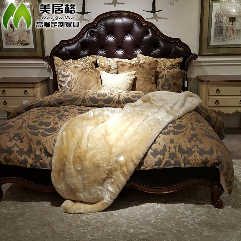 美式乡村欧式实木软包皮床双人床雕花法式婚床住宅家具大床可定制