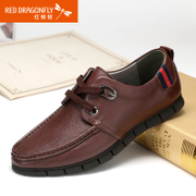 Red Dragonfly breathable genuine leather men's shoe 2015 summer styles daily leisure Korean-tie men's shoes