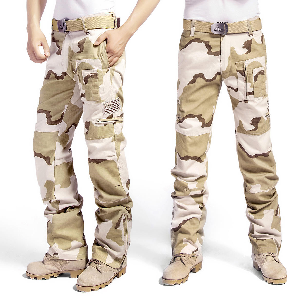 Outdoor casual overalls spring and autumn special forces camouflage wear resistant tactical pants mens straight tube consul desert Sansha