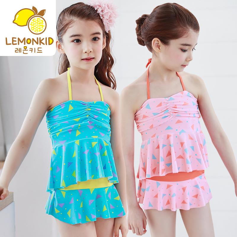 lemonkid儿童<font color='red'><b>泳衣</b></font>女孩抹胸儿童泳装