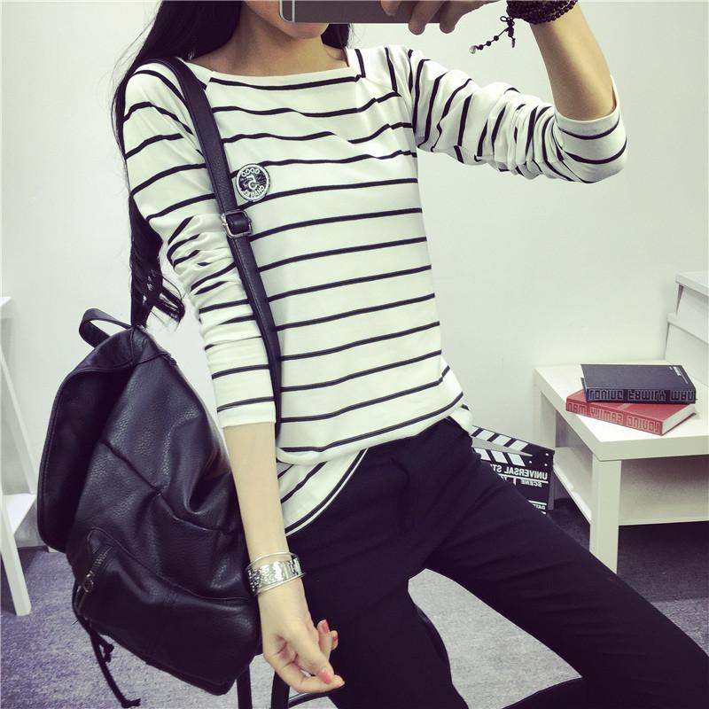 Осенние новые корейские женщины носят черно-белый полосатый t рубашки женщин размер тонкий хлопок дна рубашки с длинными рукавами женщин лучших студентов