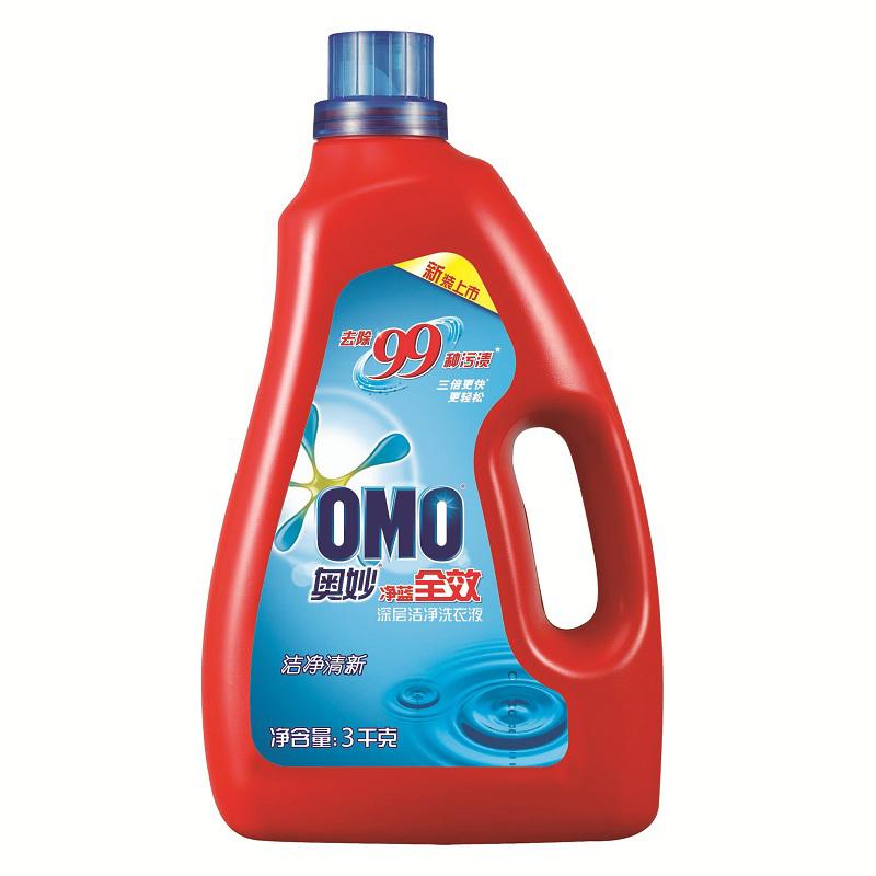 ~天貓超市~奧妙淨藍全效潔淨清新深層潔淨洗衣液3kg 新老包裝