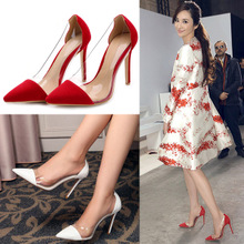2015 in Europe and the stitching transparent light temperament pointed mouth fine with high heels big-name summer 10 cm socialite single red shoes
