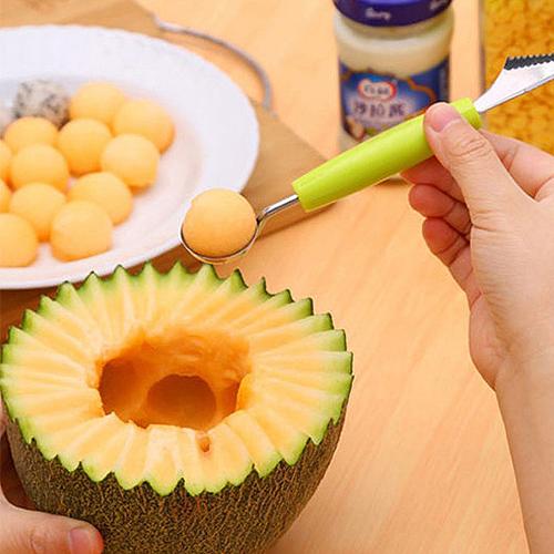 �捎盟�果雕花刀 水果勺子挖西瓜球勺西瓜勺 不�P�水果挖球器