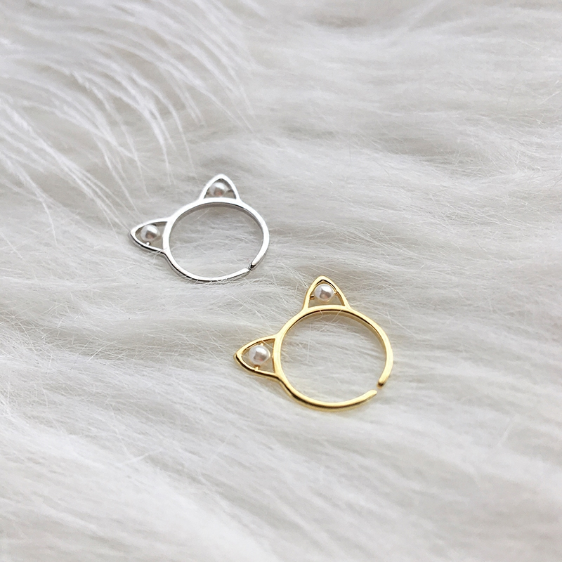 S925 sterling silver cat ear opening ring shell pearl animal cute creative design jewelry accessories m home