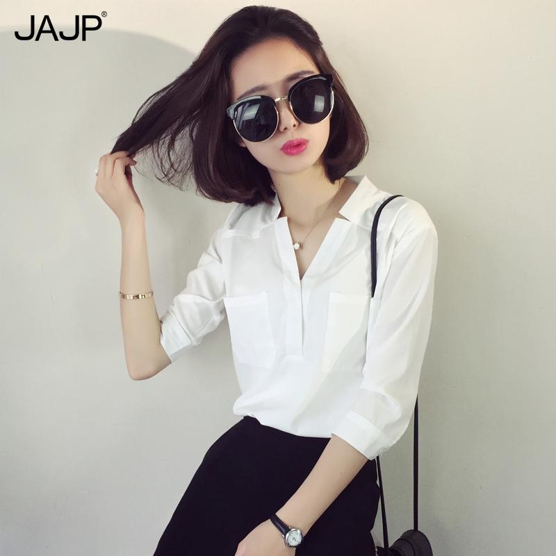 夏季白色v领衬衫女中袖宽松显瘦大码套头韩范职业装ol女士白衬衣