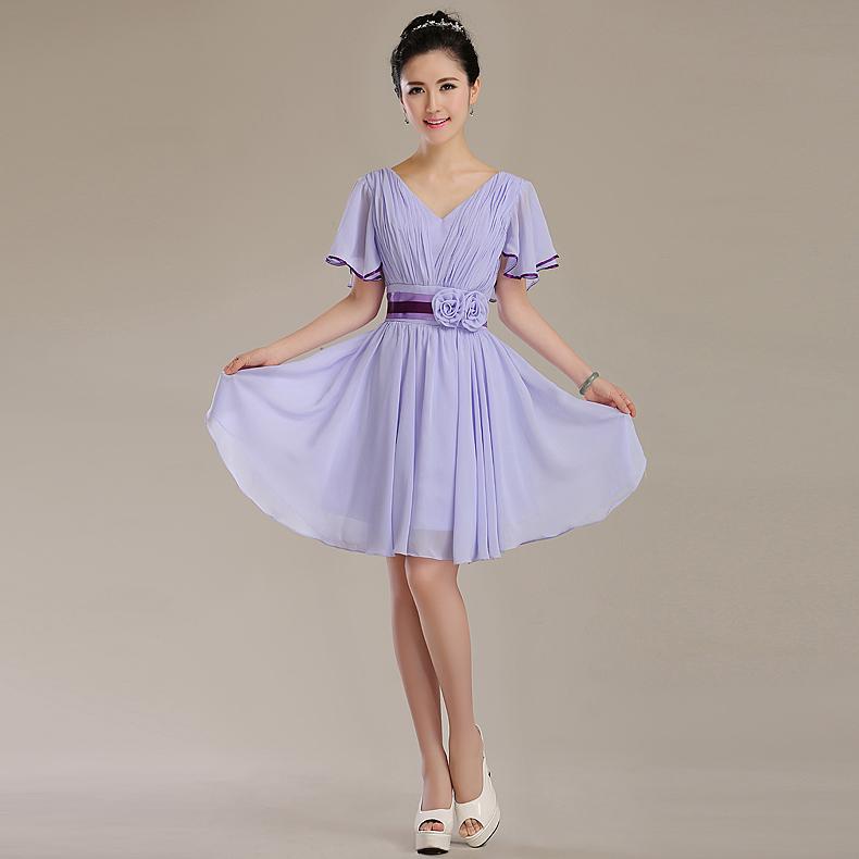 2015 году новый весна/лето невесты платья невесты платье Корейский моды фиолетовый короткий невесты Платье вечернее платье