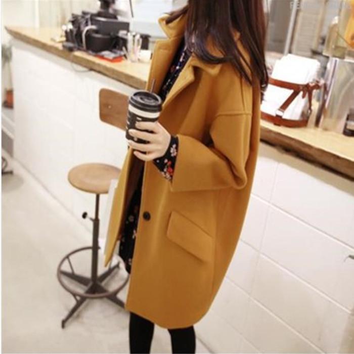 2015 году новый Корейский моды плюс размер Женская одежда на осень/зима тонкий лацкане пальто шерстяной ткани длинной шерсти пальто женщин