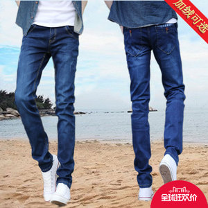 Autumn stretch jeans male straight Slim men plus velvet trousers leisure feet long pants Dongkuan Men