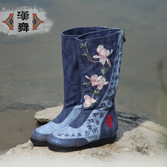Chinese ethnic dance boots zipper temperament after the round tube cotton biker boots in embroidered cloth boots Magnolia