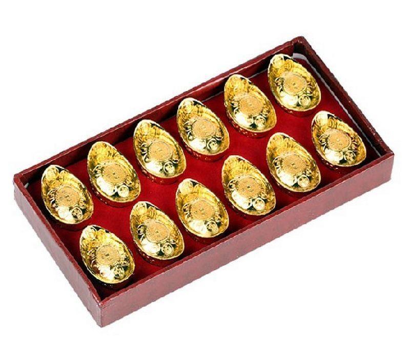 特价包邮!开光金元宝12个盒装 招财旺财聚财转运风水摆件旺财摆件