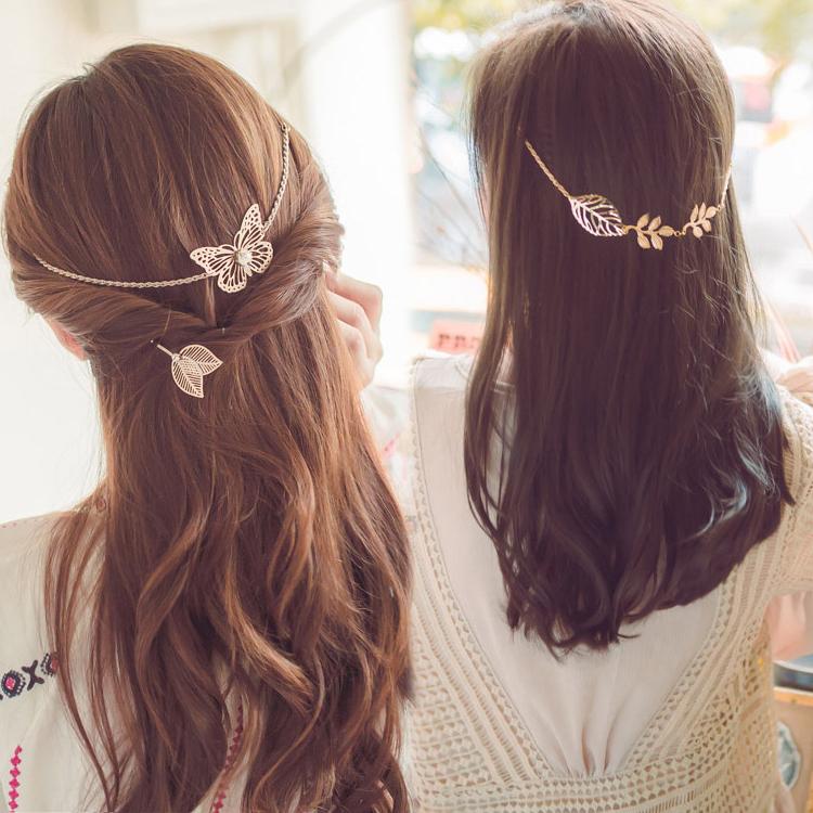 韩国蝴蝶花树叶后挂后背式盘发梳头箍发箍韩味十足创意头饰发饰