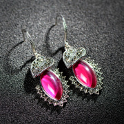 Is 925 Silver Thai Thai ornaments red corundum earrings earrings white fungus ladies fringed Ruby Thai silver jewelry