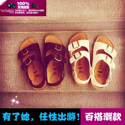 Free mail summer open toed Korean Roman womens Cork sandals lovers shoes cork sandals flat bottomed mens and womens beach slippers