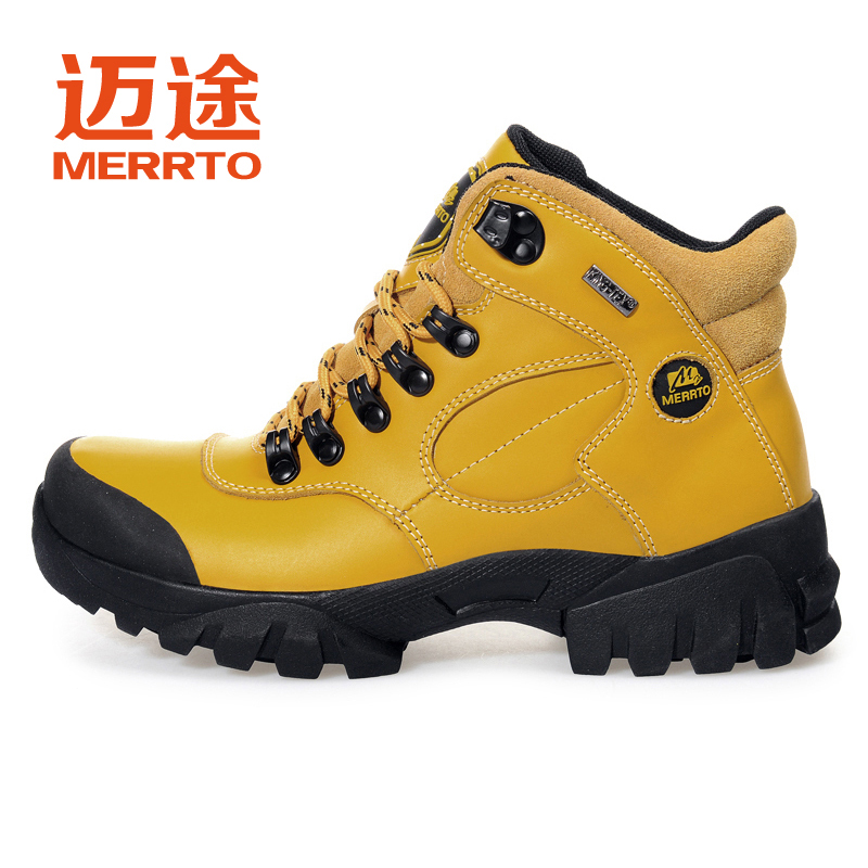 Maitu high top leather mountaineering shoes womens shoes anti slip wear resistant outdoor sports hiking shoes leather leisure travel shoes