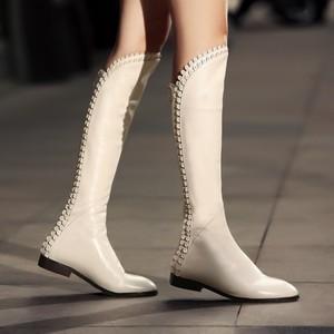 平底瘦腿真皮靴子女春秋款长靴高筒靴牛皮欧美女鞋子女靴秋冬白色