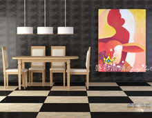Abstract adornment animal sheep red vertical version of bright pure hand-painted oil painting the living room corridor restaurant adornment to hang a picture