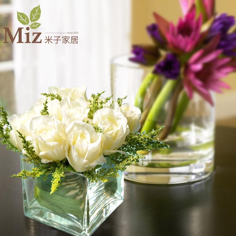 仿真花假花裝飾玫瑰套裝樣板房擺件客廳餐桌玻璃花藝擺設軟裝飾品