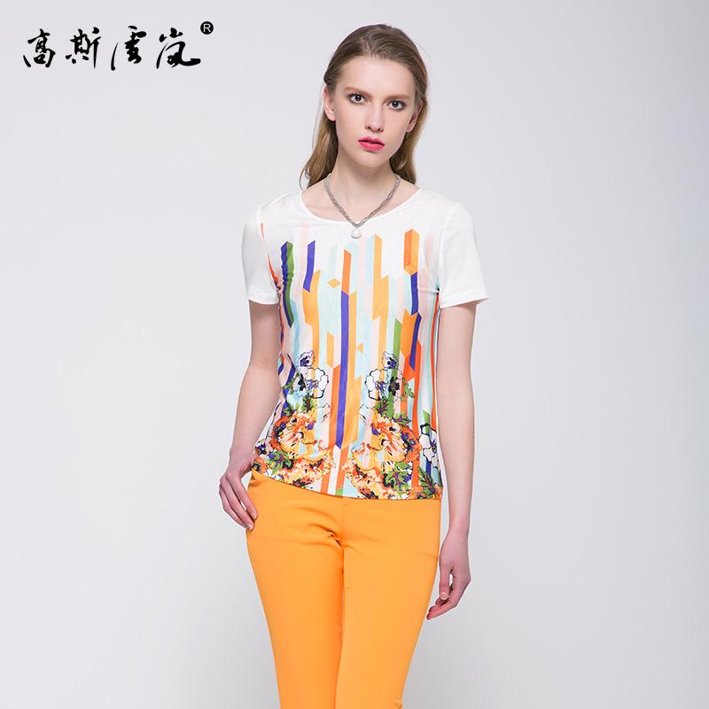 高斯雪岚夏装时尚印花T恤短款上衣修身百搭体恤短袖通勤女装