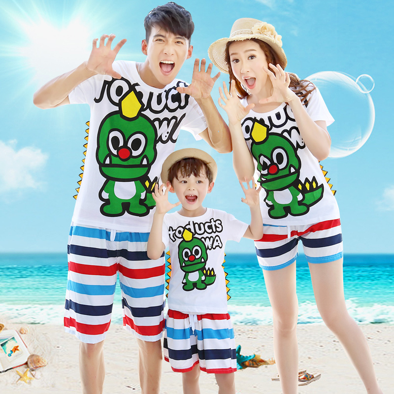 沙灘親子裝一家三口夏裝2016款海邊 母女裝全家裝恐龍套裝加肥