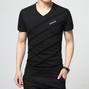 夏季短袖T恤男V领修身打底衫潮流加大码男装半袖上衣胖人显瘦小衫