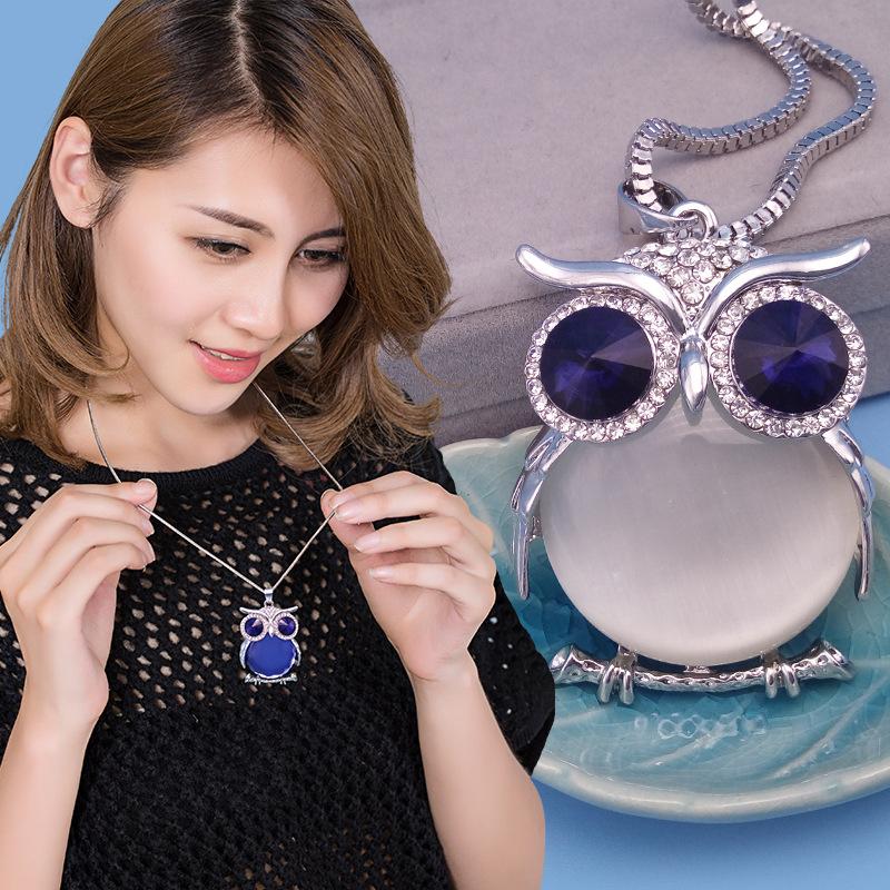 水晶猫头鹰毛衣链长款百搭项链女 韩国时尚衣服挂饰配饰