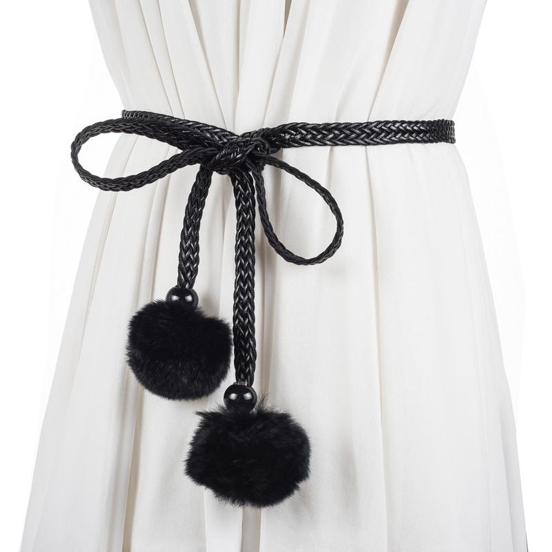 冬韩版百搭优雅兔毛球编织女士细腰链配风衣皮草打结腰带装饰裙带