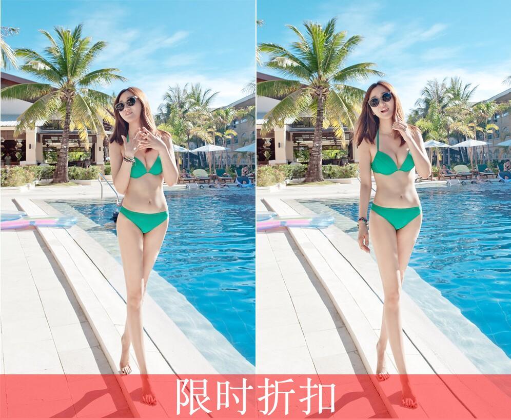 стильный новый Виктория 2014 секретный секрет спа треугольник бикини купальник Мандарин мшистых зеленый C6