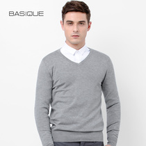 Yuan Ben Basique Slimming v-collar knitwear Pure color Inverness basic set head mens Autumn thin sweater tide