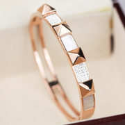 Wing 18K rose gold-plated titanium bracelets steel jewelry rings fashion Korean girl Japanese and Korean jewelry engraving