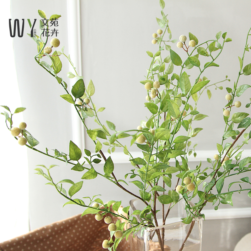 文苑 仿真花青稞果绿叶叶子绿植绢花装饰花客厅桌面摆件家居饰品