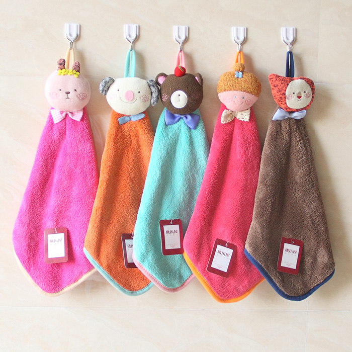 Новые товары коралл полотенце применять рука ткань висит стиль мультики милый дети носовой платок квадрат полотенце кухня