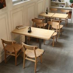 原木咖啡厅书吧实木西餐厅奶茶甜品店餐饮桌椅快餐小吃店桌椅组合