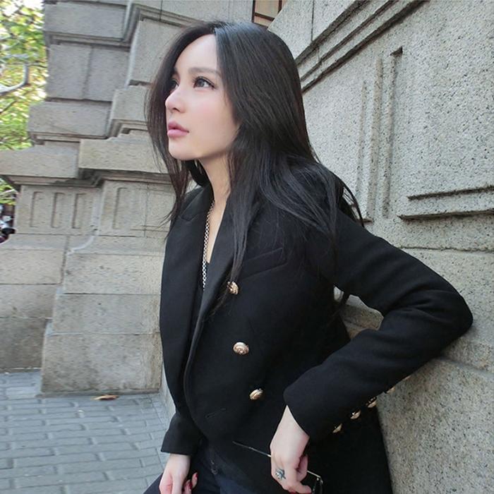 Маленький двойной грудью костюм женский 2016 осень тонкий длинный рукав черный Джокер красивый костюм куртка