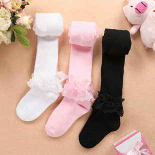 Lace childrens pantyhose Girls Dance one-piece pantyhose childrens girl baby bottom pantyhose spring and autumn thin