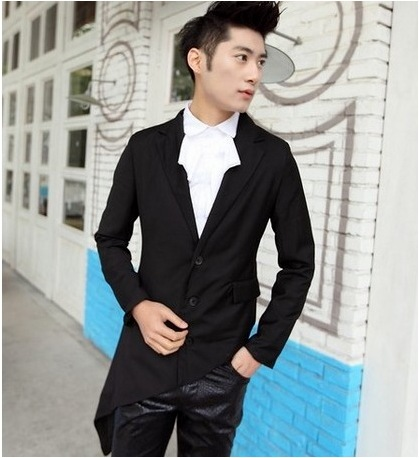 Mens suit suit small suit irregular inclined hem swallow tail suit wedding host dress performance clothes non mainstream
