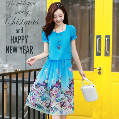 2015 summer new female floral skirt cultivate one's morality show thin shirt off two women's printed chiffon dress