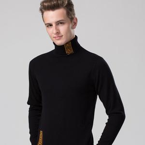 秋冬男士羊毛衫高领青年加厚高翻领纯色羊绒衫韩版新款毛衣针织衫