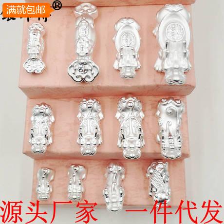 纯银 3D硬银貔貅配件 999手绳隔珠 大中小号招财保平安 复古 仿古