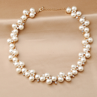 Pearl necklace female chain clavicle short paragraph bride married yarn circular jewelry accessories can be used with three piece fitted