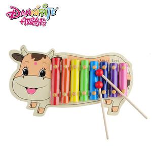 丹妮奇特 小牛木制八音手敲琴1-3岁宝宝益智音乐玩具