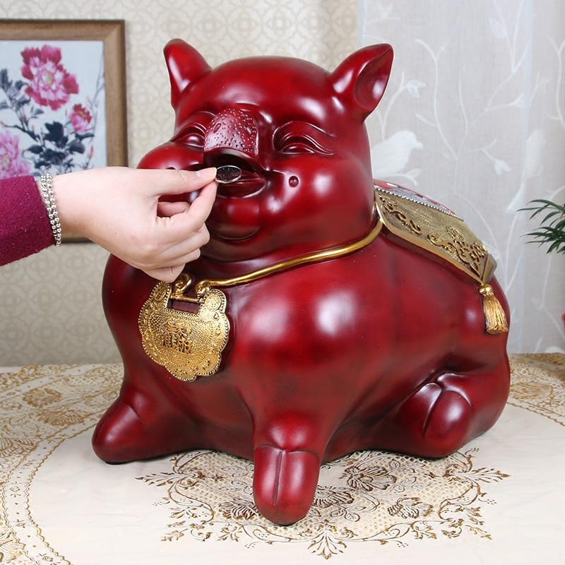 大号招财猪存钱罐加大储蓄罐十二生肖纯钱罐大人猪储钱罐只进不出