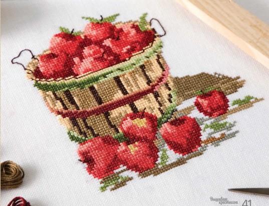 凉风十字绣客厅新款 QT2496 杂志款 一桶苹果 印花