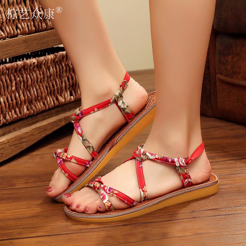 天然棕丝旅游区特色鞋透气吸汗麻布鞋民间复古系带多色女单鞋凉鞋
