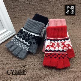 韩版秋冬季针织毛线手袜男女士半指手套学生露指黑色保暖分指手套
