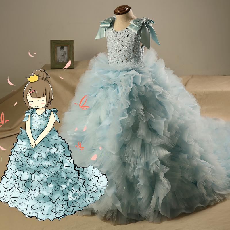 Золушка ребенок платья юбка шесть мужчина официальная юбка девочки платья пианино производительность цветок ребенок юбки продольный мазок платья