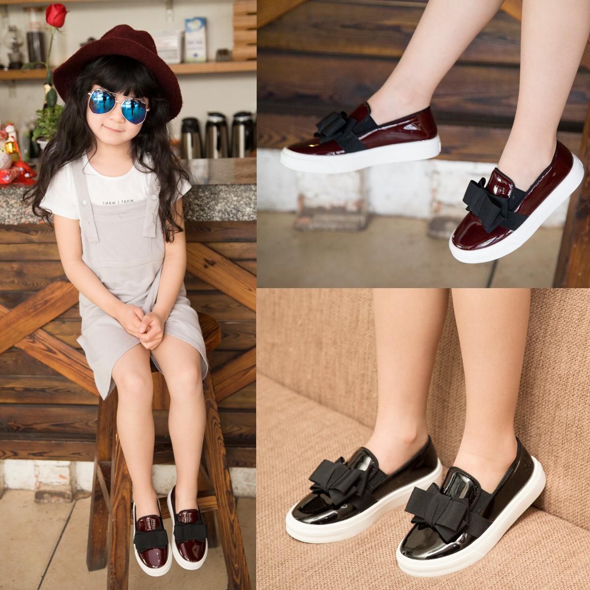 Весенние 2016 новая детская обувь девочек принцесса обувь черный кожаный, корейской версии педали досуг обувь